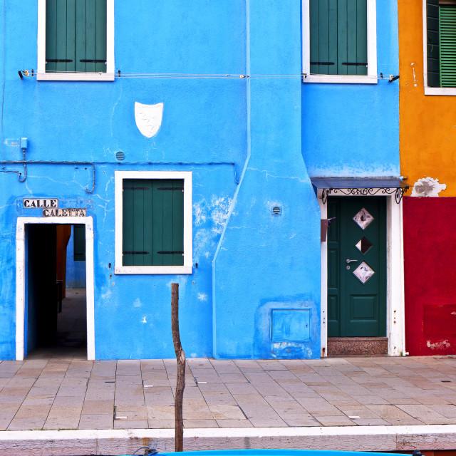 """Blue House - Burano"" stock image"