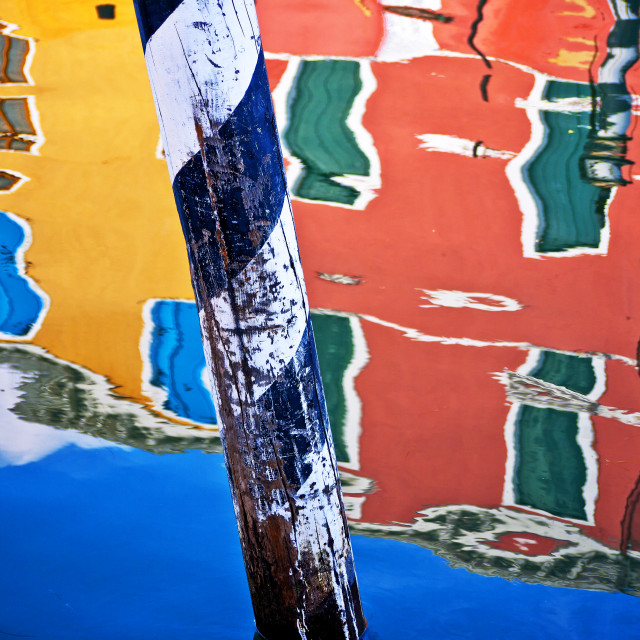 """Burano Canal Reflections"" stock image"