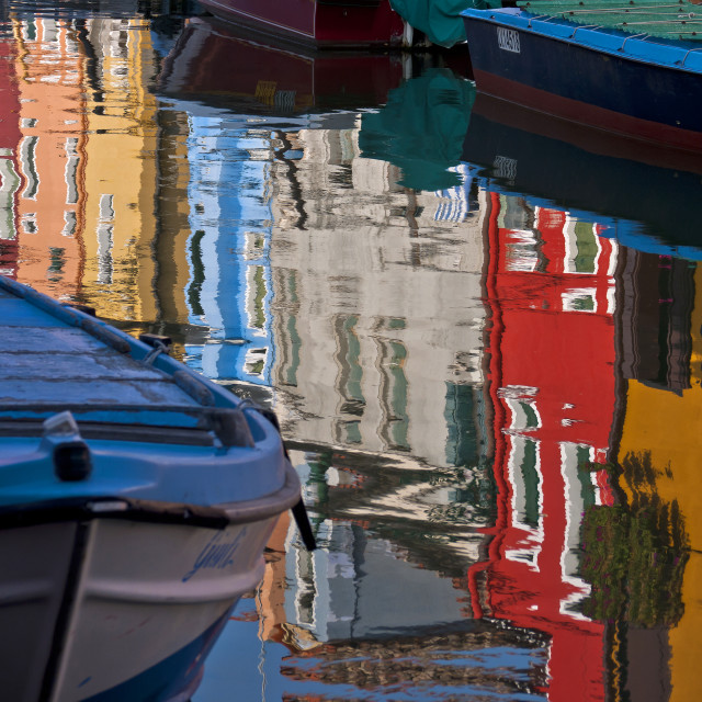 """""""Canalside Reflections - Burano"""" stock image"""