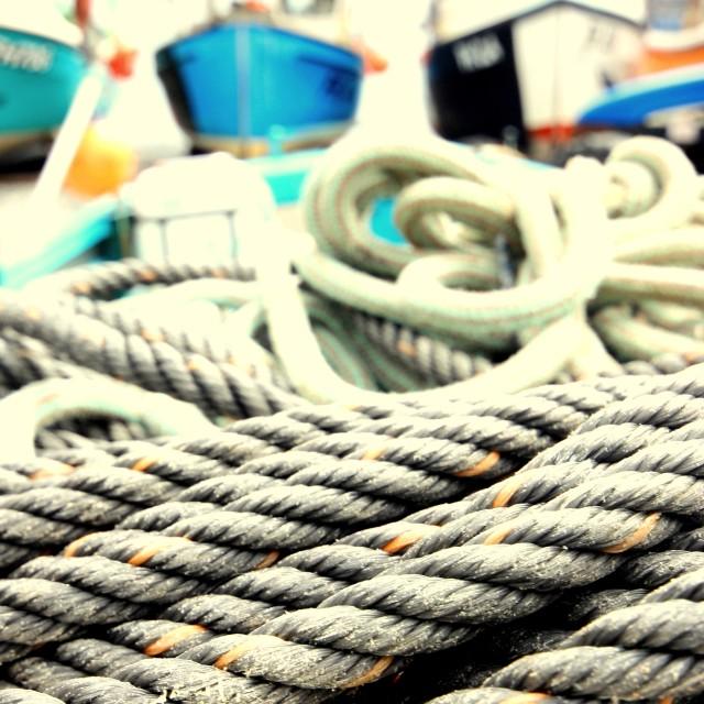 """Rope and Fishing Boats, Cornwall."" stock image"