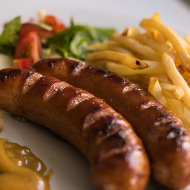 """""""Hot dogs with french fries"""" stock image"""