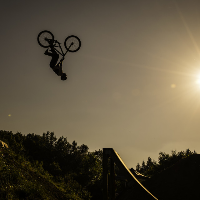 """Dirt bike backflip"" stock image"