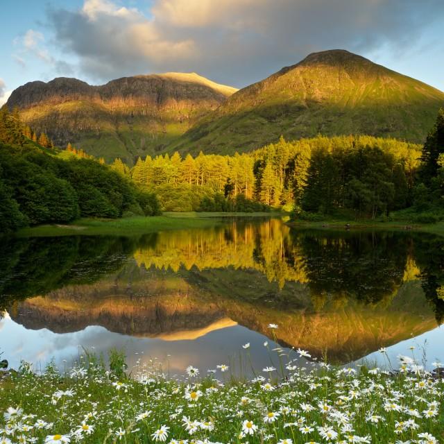 """Torren Loch reflections Glencoe"" stock image"