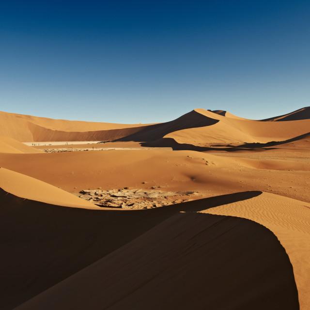 """dunes and desert landscape of Namib"" stock image"