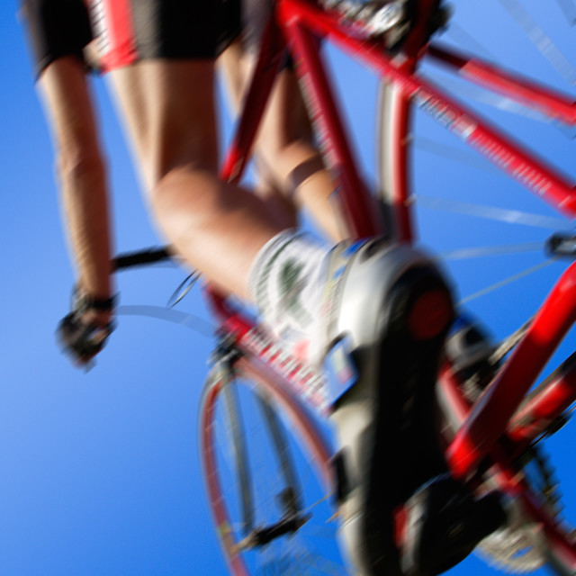 """""""blur racing cycle from below"""" stock image"""