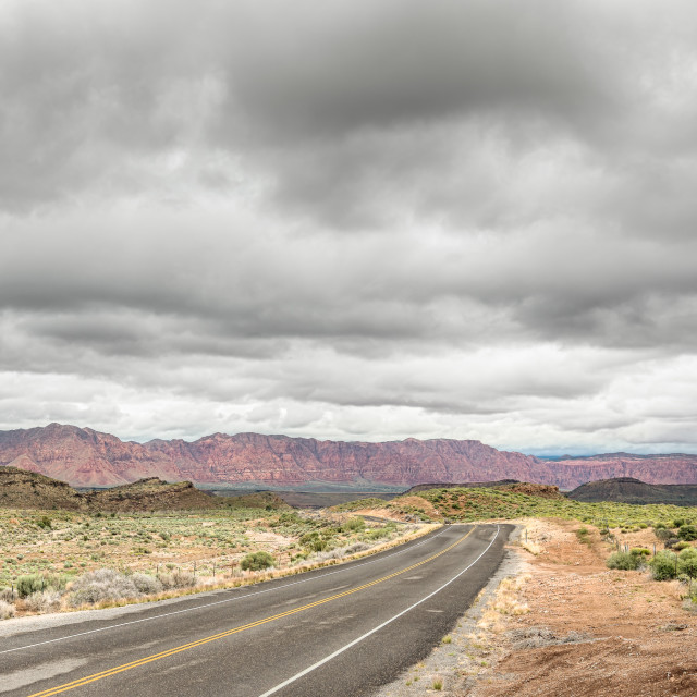 """Clouds, Paiute Reservation, Old Highway 91, NV"" stock image"