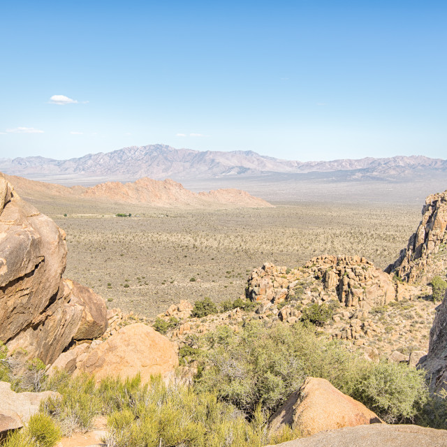 """The Notch, Teutonia Peak Trail, Mojave National Preserve, CA"" stock image"