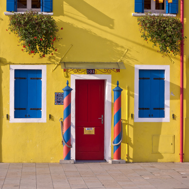 """""""Yellow House and Blue Shutters - Burano"""" stock image"""