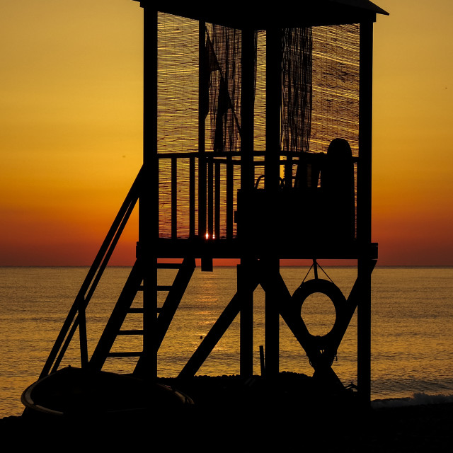 """lifeguard station sunrise"" stock image"
