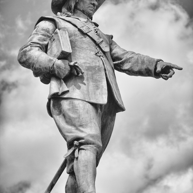 """Statue of Oliver Cromwell, St. Ives, Cambridgeshire"" stock image"