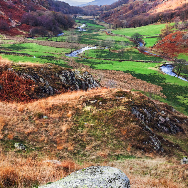"""Down the Valley from Watendlath"" stock image"
