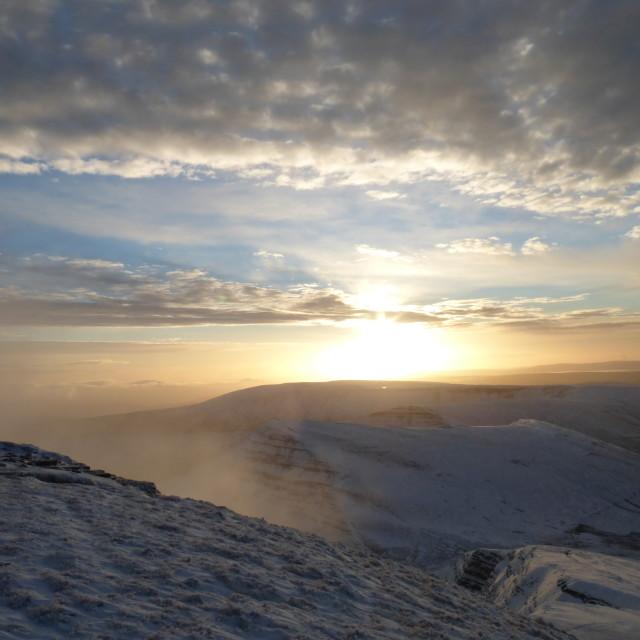 """""""Winter Sunrise from Pen y Fan"""" stock image"""