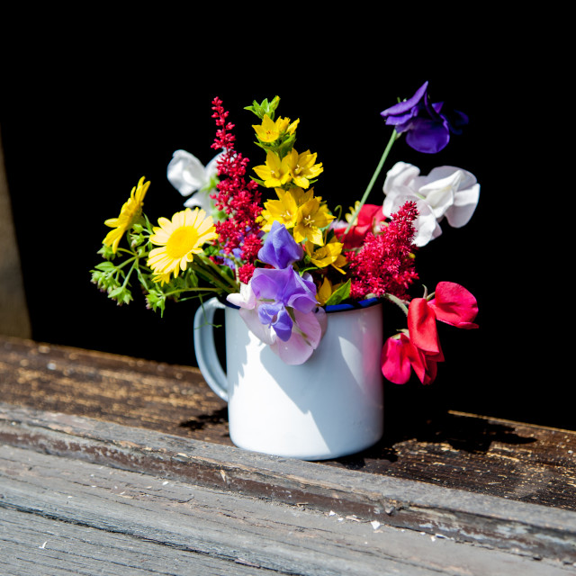 """Flowers in cup"" stock image"