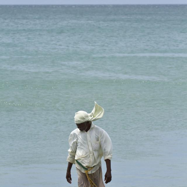 """Traditional fisherman in Uppuveli beach, Sri Lanka"" stock image"