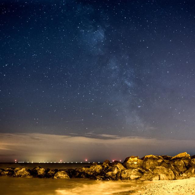 """""""Milky Way Over Gunfleet Sands"""" stock image"""