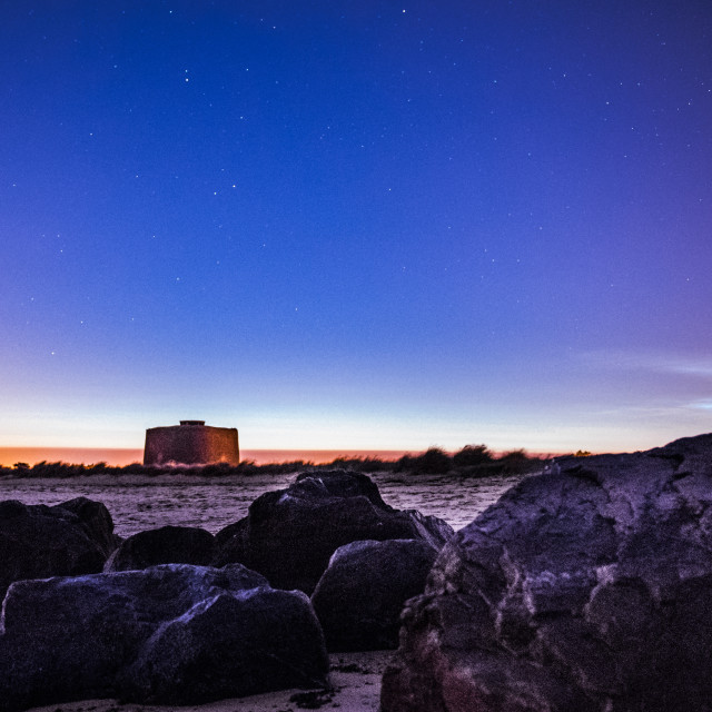 """""""Night Time Shadow of Martello Tower"""" stock image"""