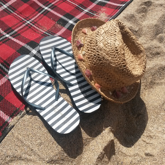 """""""Hat and Summer Shoes On the Beach"""" stock image"""