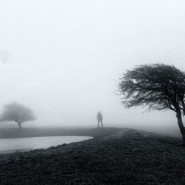 """Man in fog"" stock image"