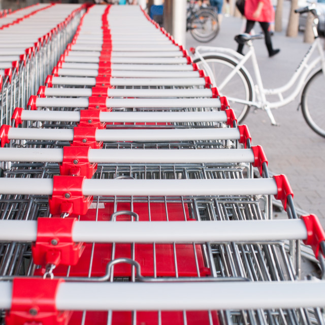 """lot of store carts"" stock image"
