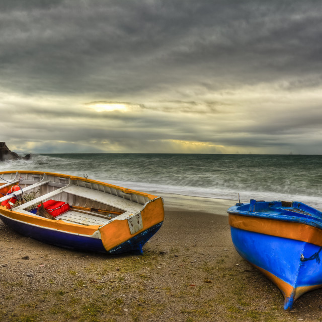 """Erchie, italian fishing village : boats in beach"" stock image"