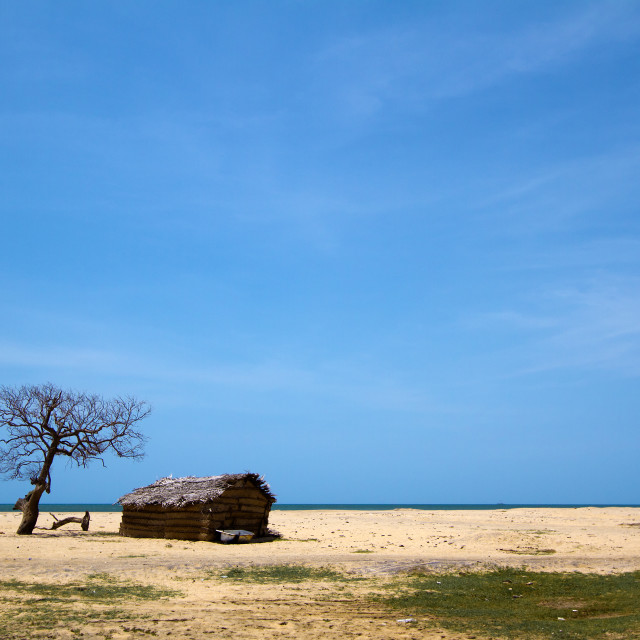 """Fishermen hut in Polmoddai, Sri Lanka"" stock image"