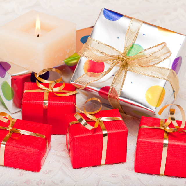 """Gift Boxes on Lace"" stock image"