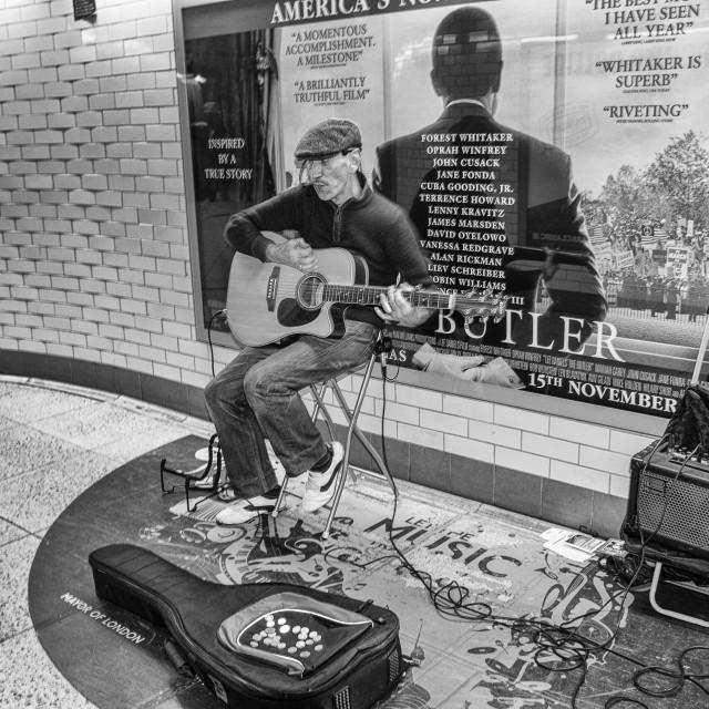 """Busker, London Underground railway"" stock image"