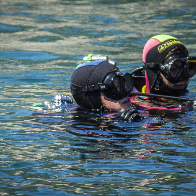 """Scuba divers in riva del Garda"" stock image"