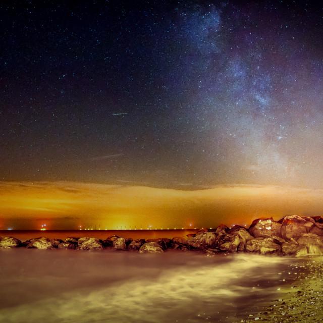 """Milky Way in Detail Over Gunfleet Wind Farm"" stock image"