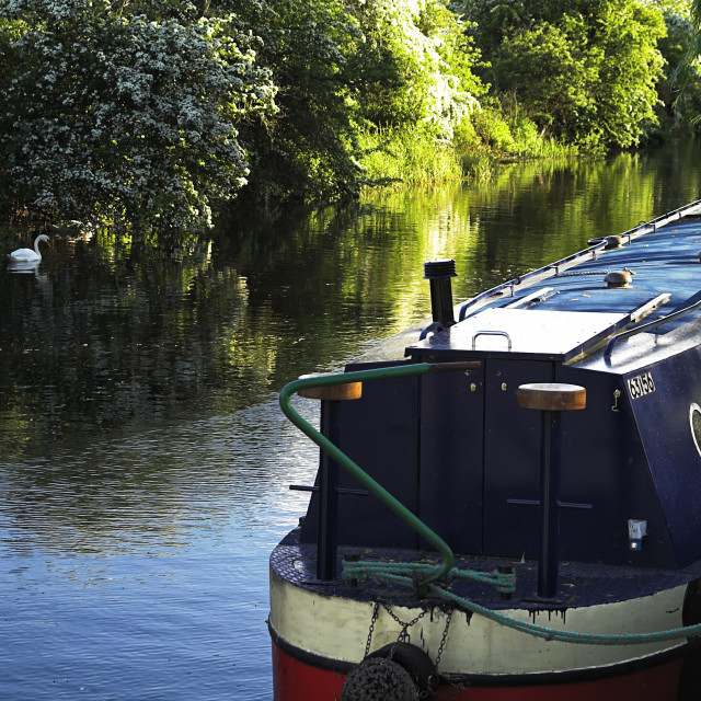 """Narrowboat on the River."" stock image"