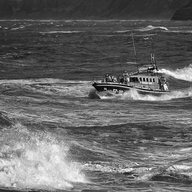 """Scarborough Lifeboat out on a shout Summer 2007."" stock image"