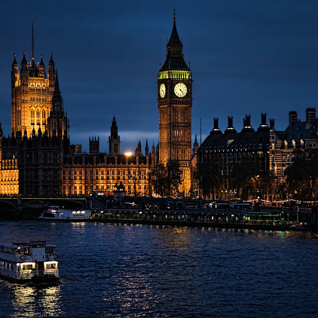 """""""Westminster from Hungerford Bridge"""" stock image"""