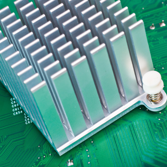 """Aliminium Heatsink on Circuit Board"" stock image"