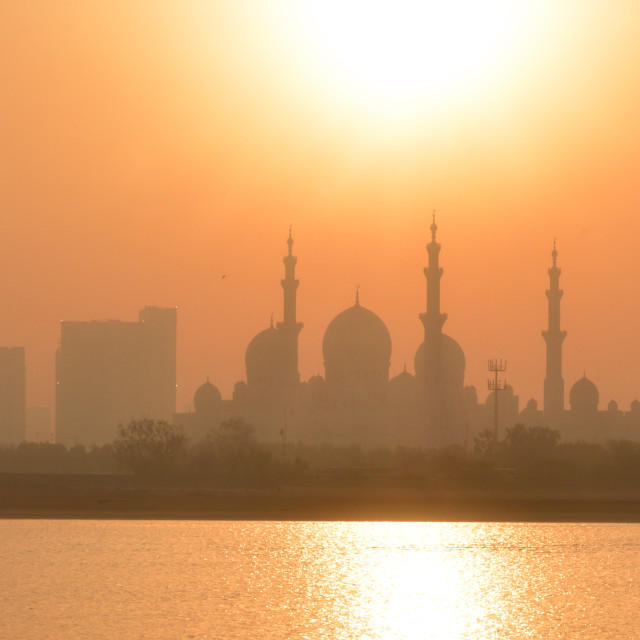 """Sunset at Sheikh Zayed Grand Mosque"" stock image"