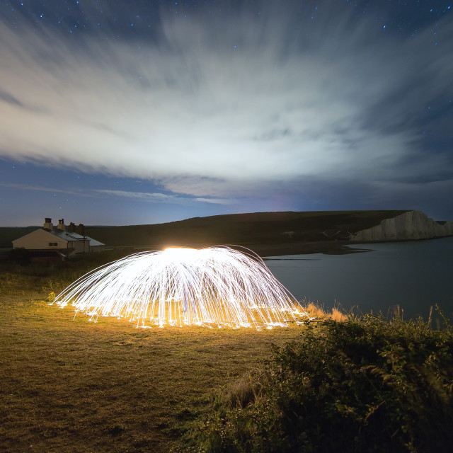 """Burning Birling Gap"" stock image"