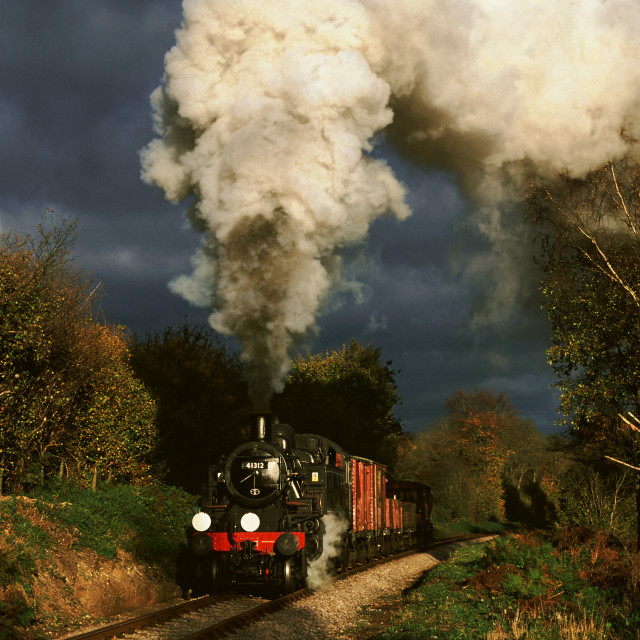 """Hampshire goods train before the storm"" stock image"