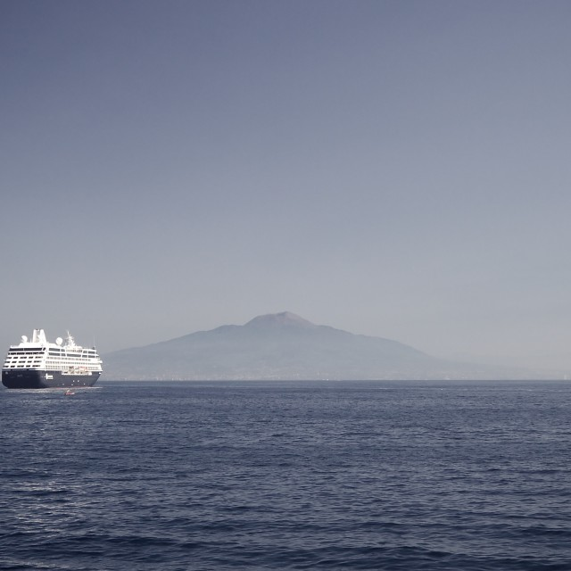 """Cruise liner with Mount Vesuvius"" stock image"
