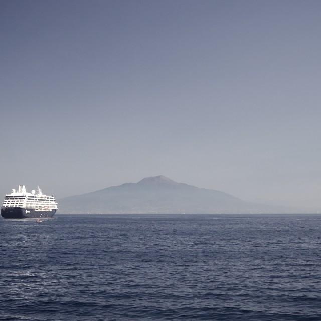 """Cruise liner with Mount Vesuvius"" stock image"