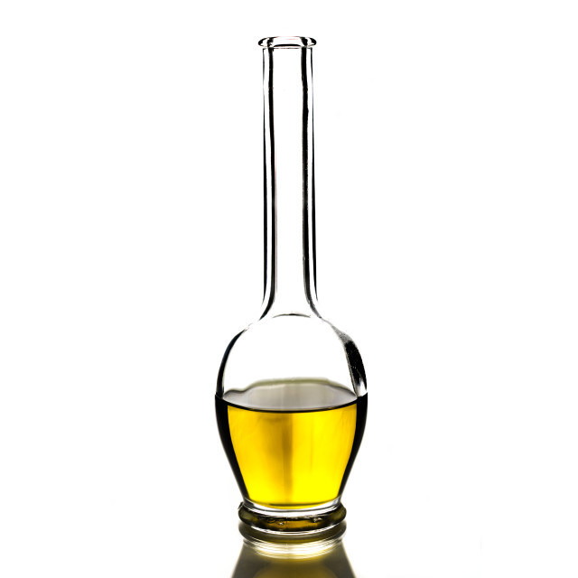 """Cretan extra virgin olive oil in a glass bottle"" stock image"