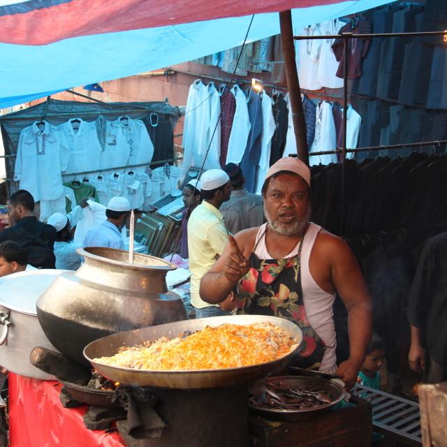 """""""Biryani seller outside Jama Masjid"""" stock image"""