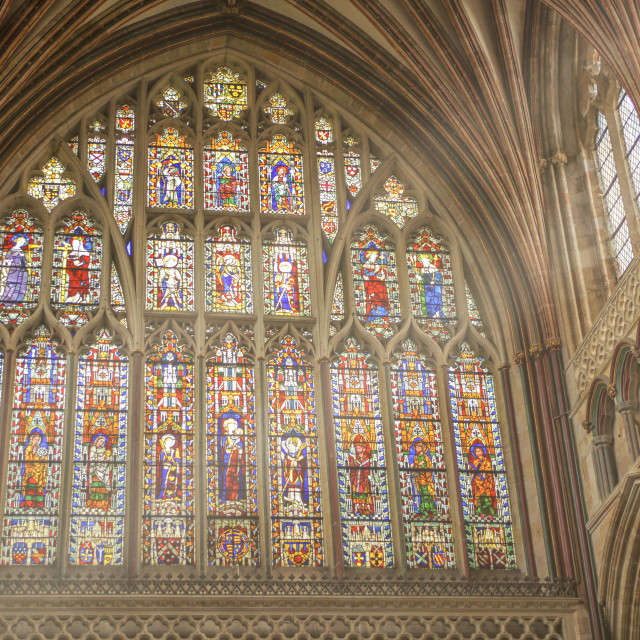 """Stained glass window in Exeter Cathedral"" stock image"