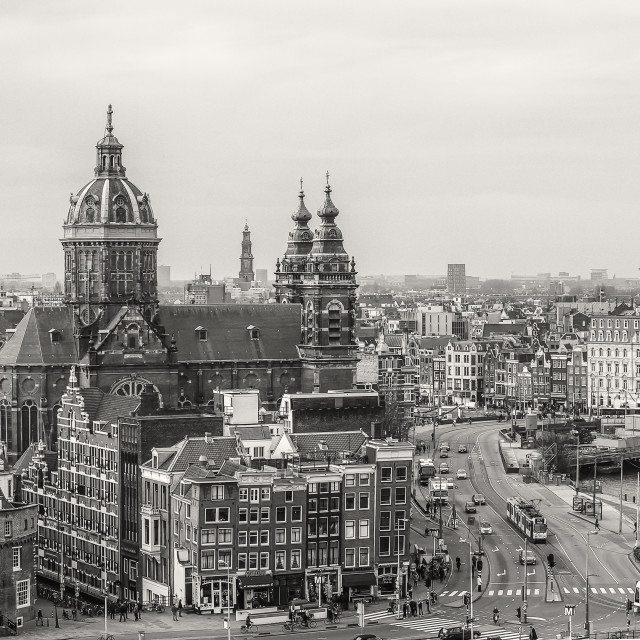 """Amsterdam view with St.Nicolaaschurch"" stock image"