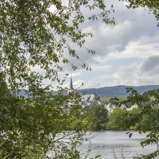 """""""River Mosel and village in Rheinland-Pfalz"""" stock image"""