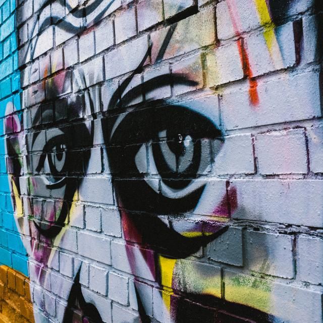 """Graffiti Art Man's Eyes"" stock image"
