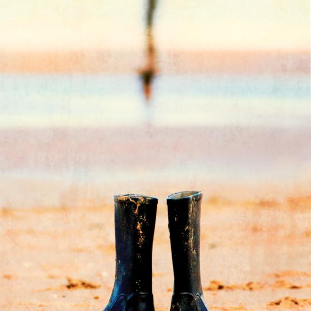 """""""Wellington boots on crosby beach, UK"""" stock image"""