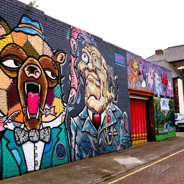 """""""Graffiti Art Bear and Man"""" stock image"""