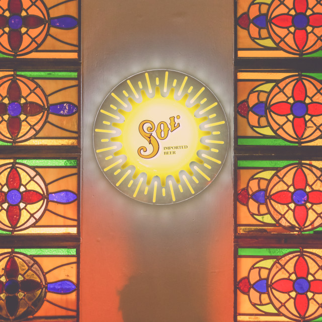 """""""Sol beer sign"""" stock image"""
