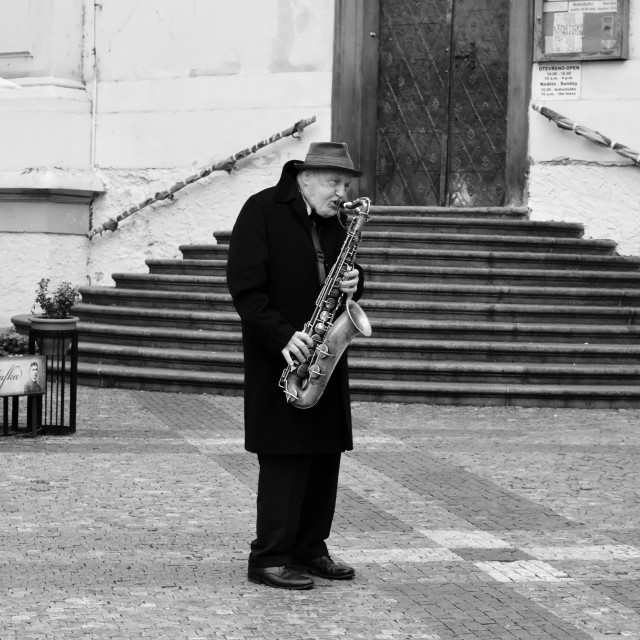 """An elderly saxophonist"" stock image"