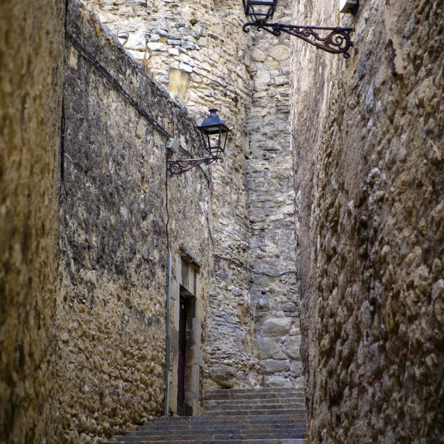"""Street in the medieval quarter"" stock image"