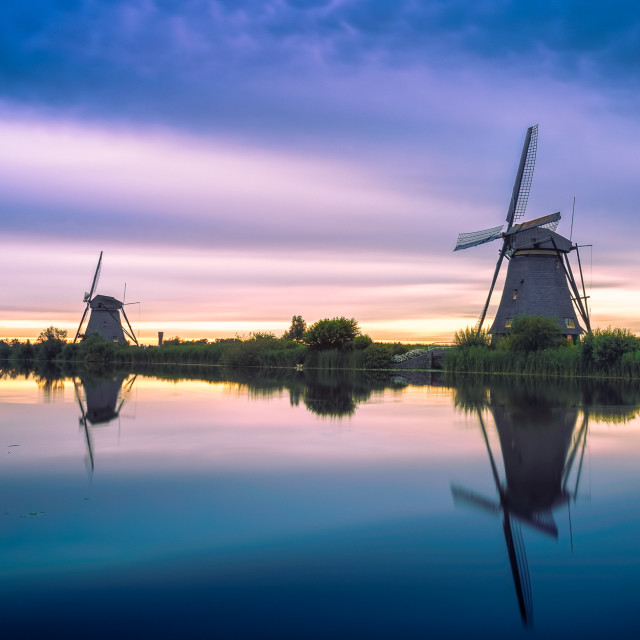 """Kinderdijk Windmills - UNESCO world heritage list"" stock image"